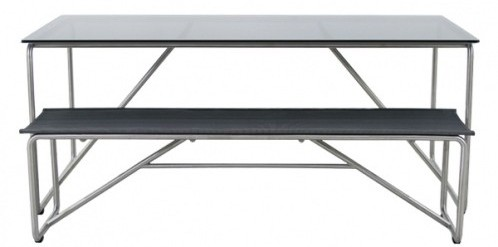 Lipari Modern Outdoor Dining Bench and Dining Table