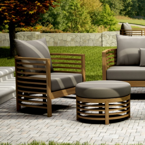 Cantoni Modern outdoor furniture Spirals Lounge Chair and Ottoman