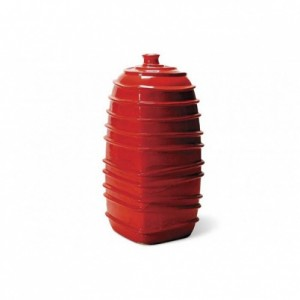 Red Ribbed Square Bottom Jar-Cantoni modern outdoor furniture