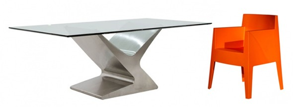 Zoom Modern Outdoor Dining Table and Toy Modern Dining Chair