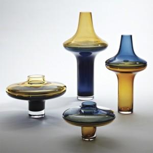 Amber Over Cobalt Blue Vase-Decorating with vases-Cantoni Modern Furniture