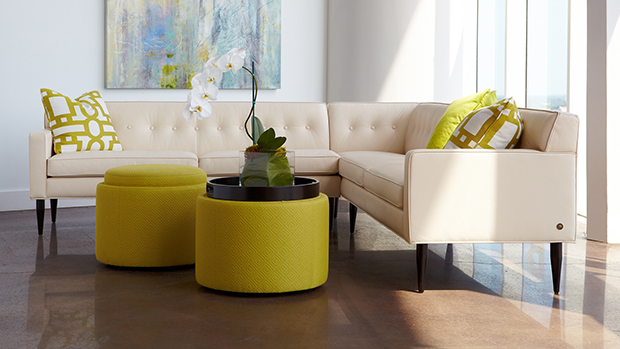 American Leather and Cantoni Modern Furniture-yellow inspired rooms