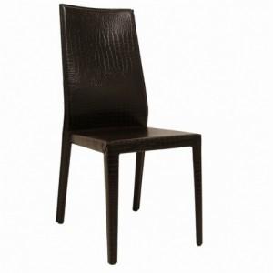 Margot Side Chair-Brown Crocodile