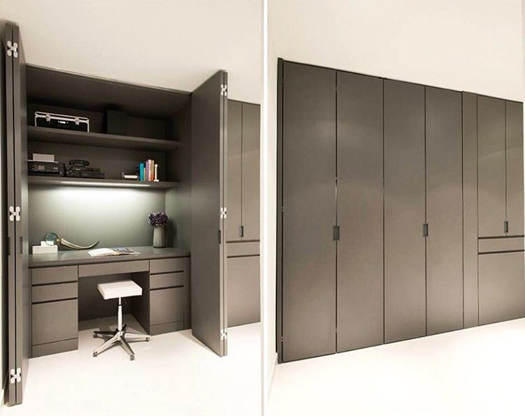 This built-in home office is conveniently concealed when you want and highly functional when you need! Photo by Michael Hunter