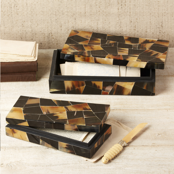 free shipping on gifts-Horn Mosaic Box (set of 2)