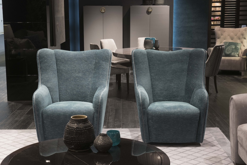 New armchairs in aquamarine by Malerba