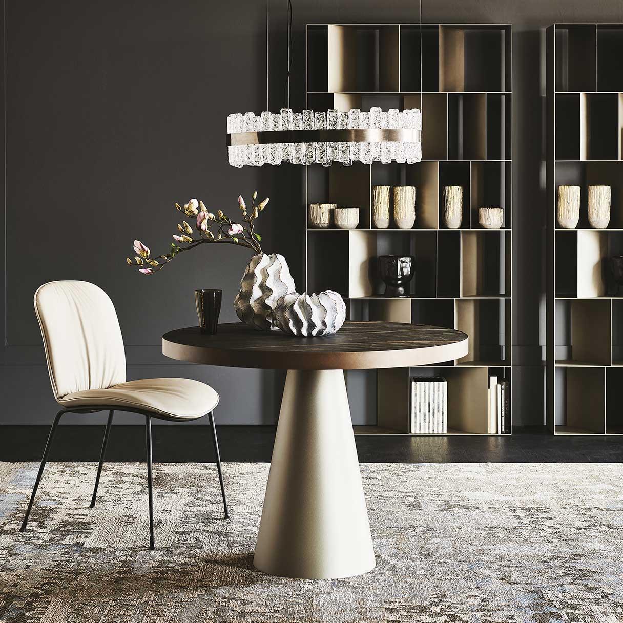 Saturno Keramik Bistro Table, Tina Chair, Phoenix Ceiling Lamp by Cattelan Italia
